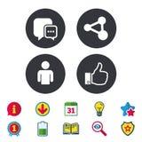 Социальные значки средств массовой информации Пузырь и доля речи болтовни Стоковая Фотография