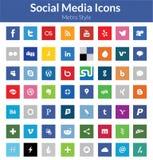 Социальные значки средств массовой информации (стиль метро) Стоковое Изображение RF