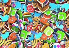 Социальные значки средств массовой информации Стоковое Изображение RF