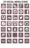 Социальные значки средств массовой информации (Set1) Стоковые Фотографии RF