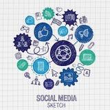 Социальные значки люка чертежа руки средств массовой информации Стоковое Фото