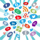 Социальные кнопки средств массовой информации Стоковое Изображение RF