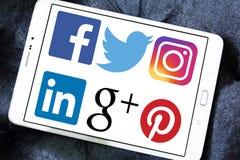 Социальные логотипы и значки сети Стоковое Фото