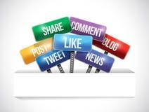 Социальные дорожные знаки средств массовой информации и бумажное карманн иллюстрация штока