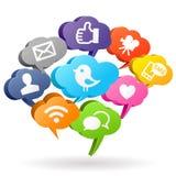 Социальные пузыри речи средств массовой информации Стоковое Изображение