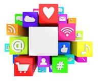 Социальные символы средств массовой информации Стоковые Изображения RF