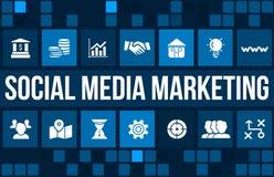 Социальные средства массовой информации выходя концепцию вышед на рынок на рынок отображают с значками и copyspace дела Стоковое Изображение RF