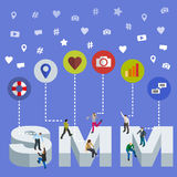 Социальные средства массовой информации выходя равновеликую концепцию вышед на рынок на рынок 3d Равновеликие люди Социальное зна Стоковые Фотографии RF