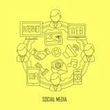 Социальные средства массовой информации в тонкой линии стиле Стоковое Изображение