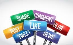 Социальные средства массовой информации и иллюстрация знака обслуживаний иллюстрация штока