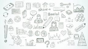 Социальные средства массовой информации doodles эскиз установленный с элементами infographics Стоковые Изображения