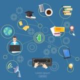 Социальные webinars и консультации дистанционого обучения сетей иллюстрация штока