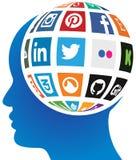 Социальный глобус средств массовой информации иллюстрация вектора