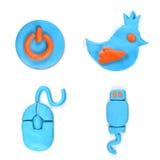 Социальный комплект беседы пузыря значка сделанный от пластилина Стоковые Фотографии RF