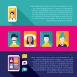 Социальный комплект знамени сети и связи Иллюстрация штока