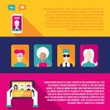 Социальный комплект знамени сети и связи Иллюстрация вектора