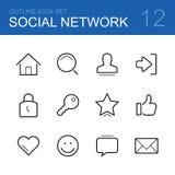 Социальный комплект значка плана вектора сети Стоковая Фотография