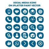 Социальный комплект значка средств массовой информации на голубой светлой краске splatter Плоские значки Стоковое Изображение