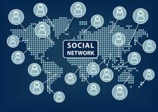 Социальный текст сети с картой мира и значками людей Стоковые Изображения