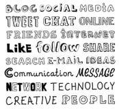 Социальный текст эскиза вектора средств массовой информации Стоковая Фотография RF