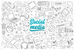 Социальный doodle средств массовой информации установленный с литерностью Стоковое Изображение