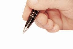 сочинительство бумаги человека руки белое Стоковая Фотография