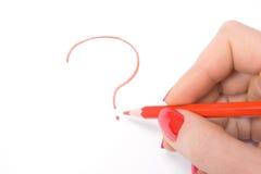 сочинительство женщины вопросе о s метки руки Стоковое Изображение RF