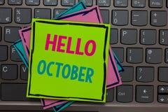 Сочинительство здравствуйте! октябрь текста почерка Сезона месяца 30days последней четверти смысла концепции напоминания бумаг де стоковое изображение rf