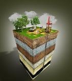 Сочинительство инженера концепции исследования бурения нефтяных скважин на бумаге i иллюстрация вектора