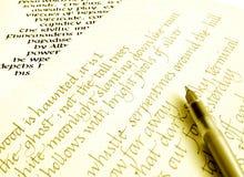 сочинительство каллиграфии бумажное Стоковое Изображение