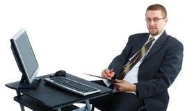 сочинительство компьютера бизнесмена работая стоковые изображения
