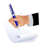 сочинительство руки бумажное Стоковая Фотография RF