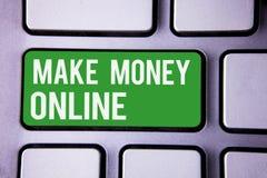 Сочинительство текста почерка зарабатывает деньги онлайн Текст 2 технологии сети нововведения Ebusiness Ecommerce дела смысла кон Стоковое Изображение RF