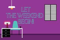 Сочинительство текста почерка позволило выходным начать Начало смысла концепции конца недели быть жизнерадостно наслаждается рабо бесплатная иллюстрация