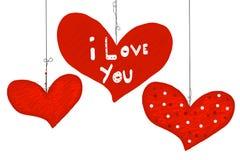 Сочинительство `` я тебя люблю `` текст руки Сердца Счастливые сердца doodle дня ` s валентинки карточка 2007 приветствуя счастли Стоковое Изображение RF