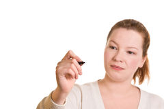 Сочинительство женщины с ручкой войлока Стоковое Изображение RF