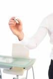 Сочинительство руки Businessmans с отметкой Стоковое фото RF
