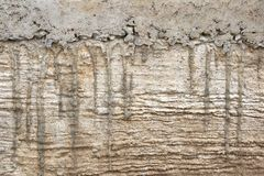 Сочиться цемент на земном бетоне Стоковые Изображения RF