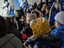 Сочи Россия - 16-ое февраля 2014: Немногое дует в стойках спички хоккея стоковые фотографии rf