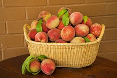 Сочные зрелые персики подготавливают для пирога стоковое фото