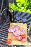 Сочные стейк, овощи и бутылка вина на пикнике outdoors Стоковая Фотография RF