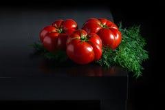 Сочные томаты с укропом на деревянной темной предпосылке Стоковая Фотография