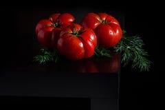 Сочные томаты с dropletson укропа и воды деревянная темная предпосылка Стоковые Фотографии RF