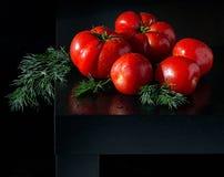 Сочные томаты с dropletson укропа и воды деревянная темная предпосылка Стоковое Изображение RF