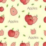 Сочные яблоки в винтажном стиле, handmade стиле, стиле мультфильма с оформлением бесплатная иллюстрация
