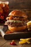 Сочный гамбургер голубого сыра Стоковая Фотография