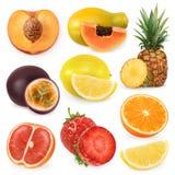Сочный зрелый сладостный плодоовощ иконы иконы цвета картона установили вектор бирок 3 бесплатная иллюстрация
