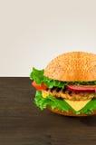 Сочный и душистый гамбургер с фраями домодельными Стоковое Фото