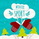 Сочный красочный типографский плакат с текстом о спорт зимы на красивой голубой предпосылке зимы с снегом Лыжные курорты бесплатная иллюстрация