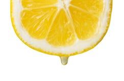 Сочный кусок лимона с падением сока, концом-вверх изолированного на белизне Стоковое Фото